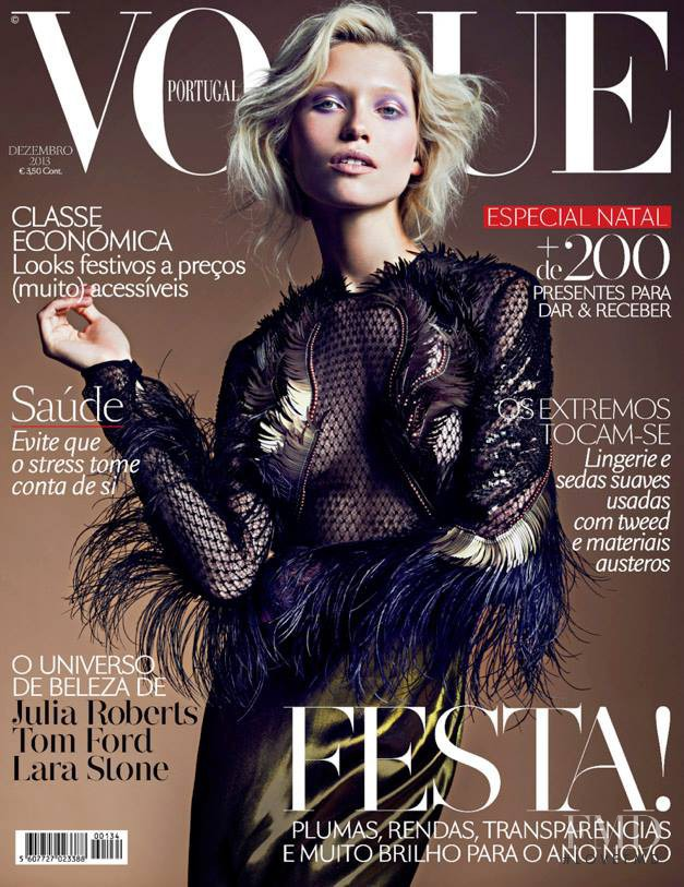 Hana Jirickova featured on the Vogue Portugal cover from December 2013