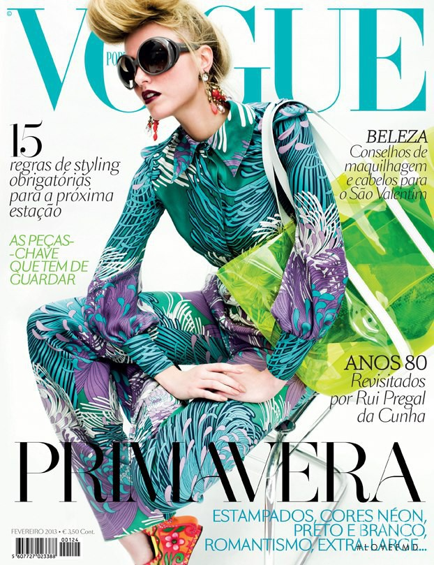 Aida Aniulyte featured on the Vogue Portugal cover from February 2013