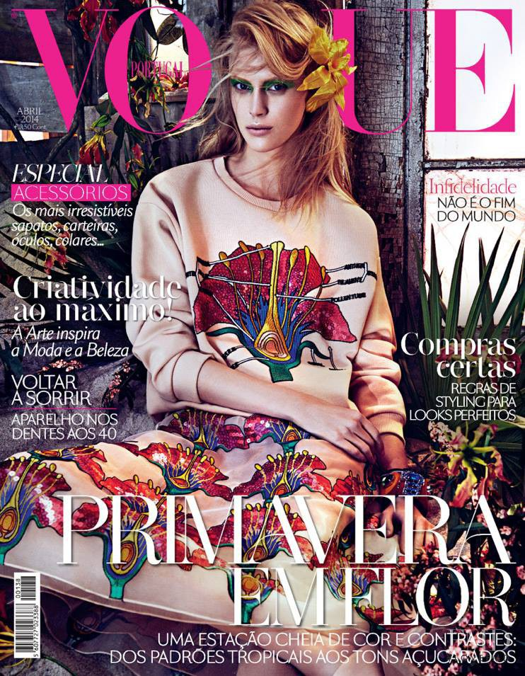 Juliana Schurig featured on the Vogue Portugal cover from April 2014