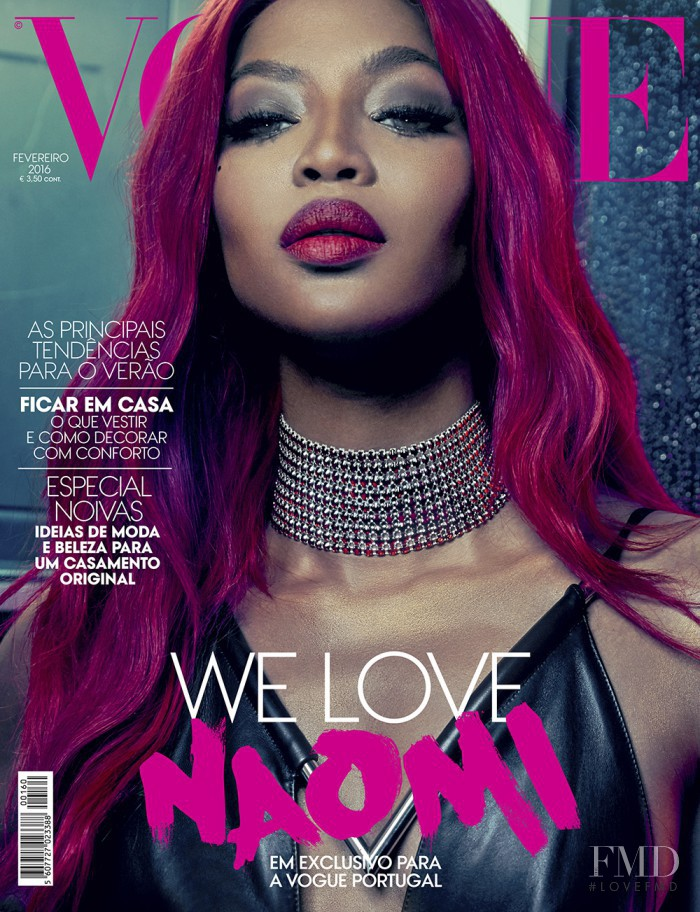 Naomi Campbell featured on the Vogue Portugal cover from February 2016