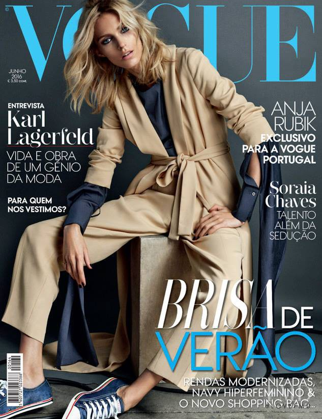 Anja Rubik featured on the Vogue Portugal cover from June 2016