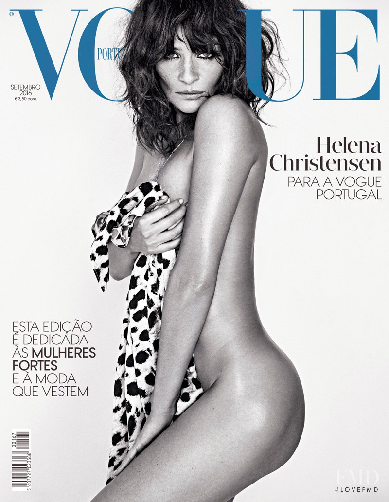 Helena Christensen featured on the Vogue Portugal cover from September 2016