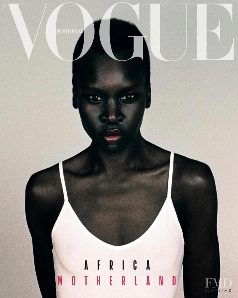 Alek Wek featured on the Vogue Portugal cover from April 2019