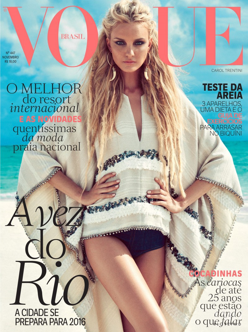 Caroline Trentini featured on the Vogue Brazil cover from November 2015