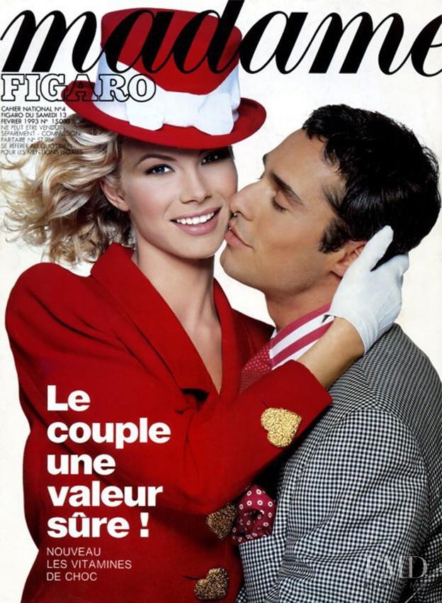 Laurence Vanhaeverbeke featured on the Madame Figaro France cover from February 1993