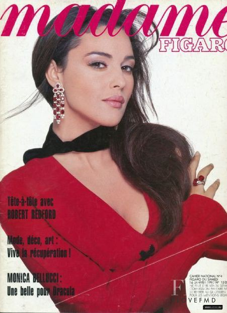 Monica Bellucci featured on the Madame Figaro France cover from January 1993