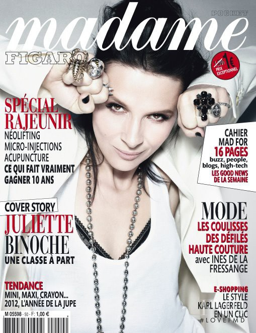 Juliette Binoche featured on the Madame Figaro France cover from February 2012