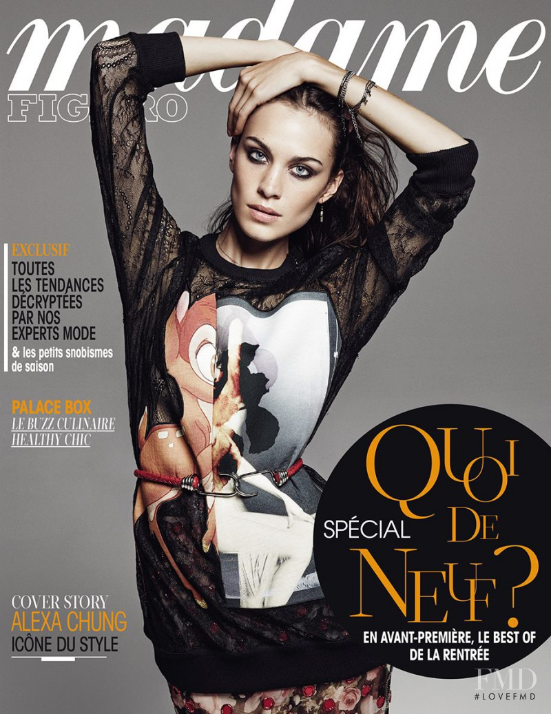 Alexa Chung featured on the Madame Figaro France cover from August 2013