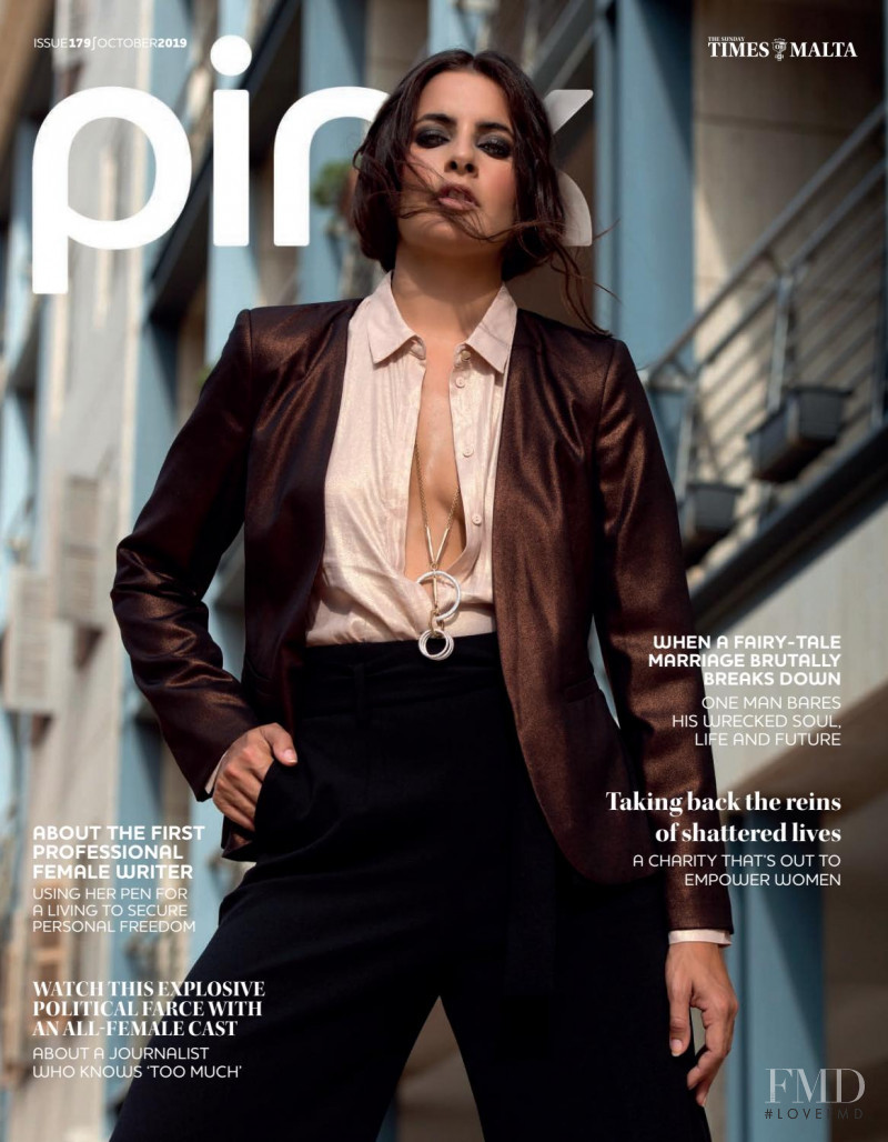Katrina Pavia featured on the Pink Malta cover from October 2019