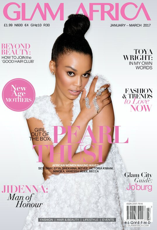 Pearl Thusi featured on the Glam Africa cover from January 2017