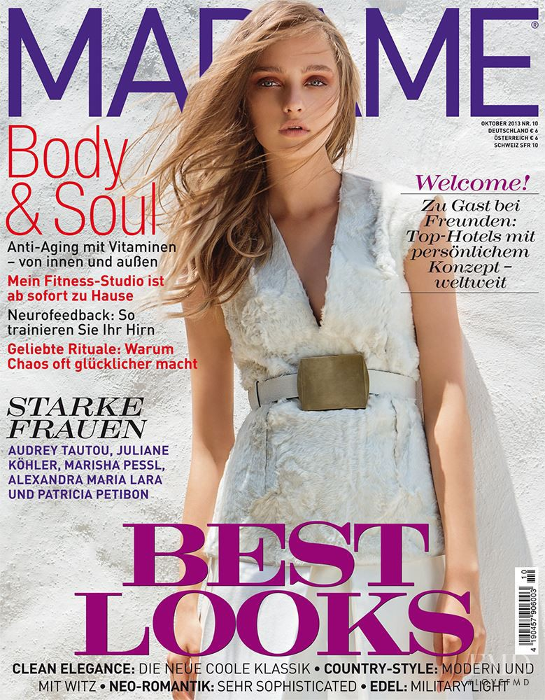 Julia Belyakova featured on the Madame cover from October 2013