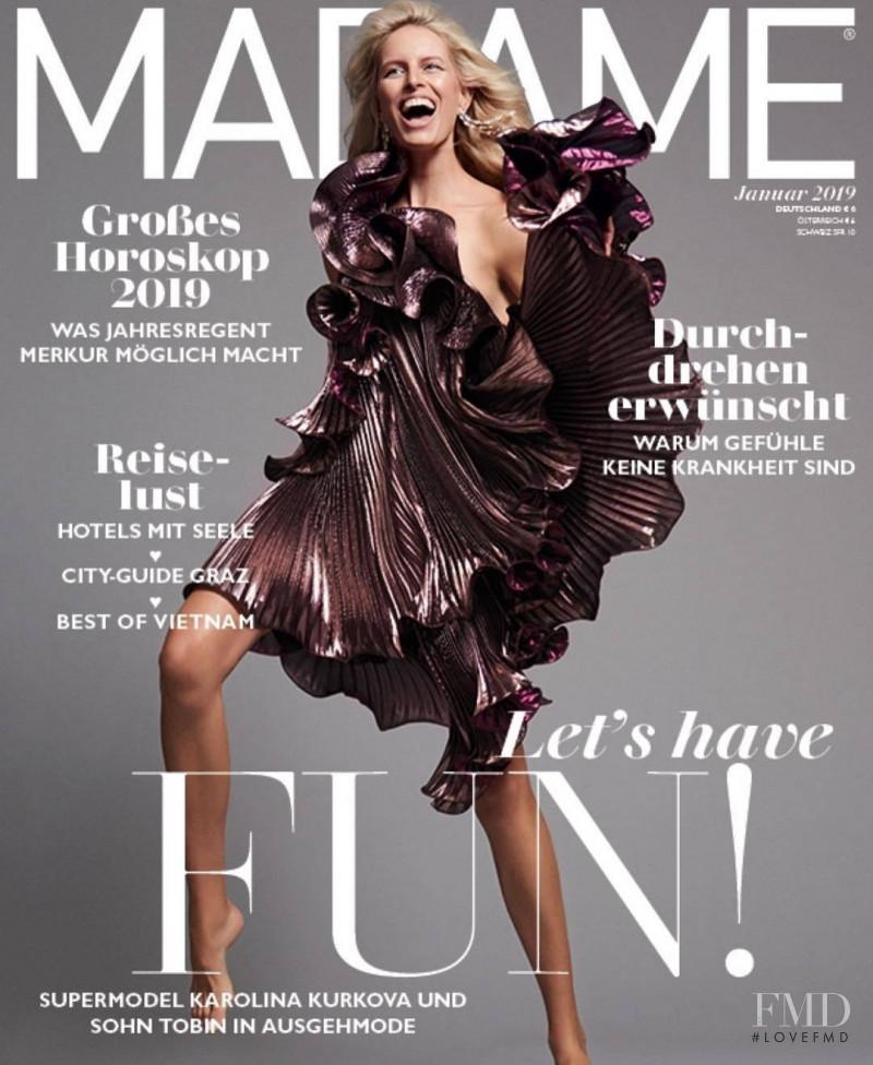 Karolina Kurkova featured on the Madame cover from January 2019