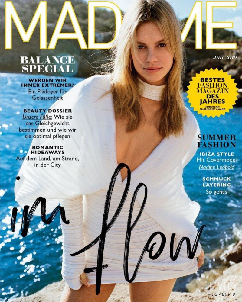 Nadine Leopold featured on the Madame cover from July 2019