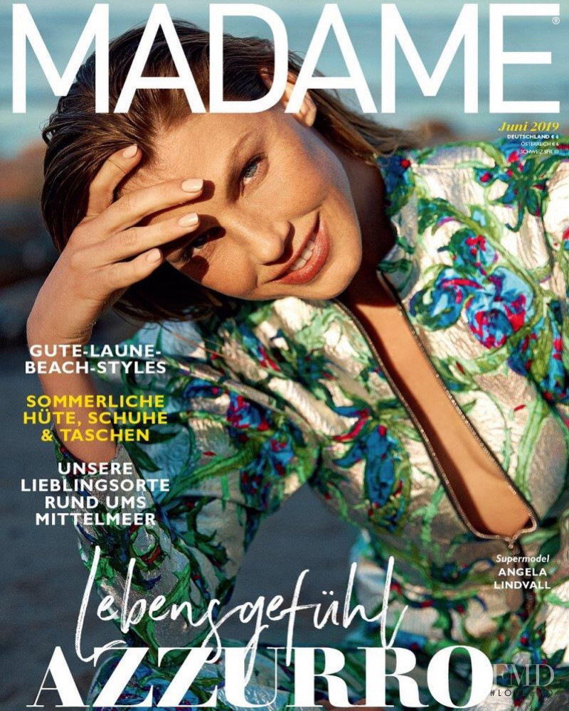 Angela Lindvall featured on the Madame cover from June 2019