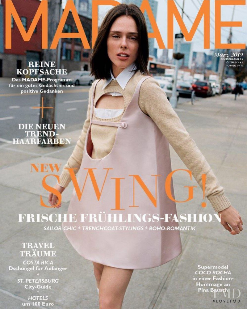 Coco Rocha featured on the Madame cover from March 2019