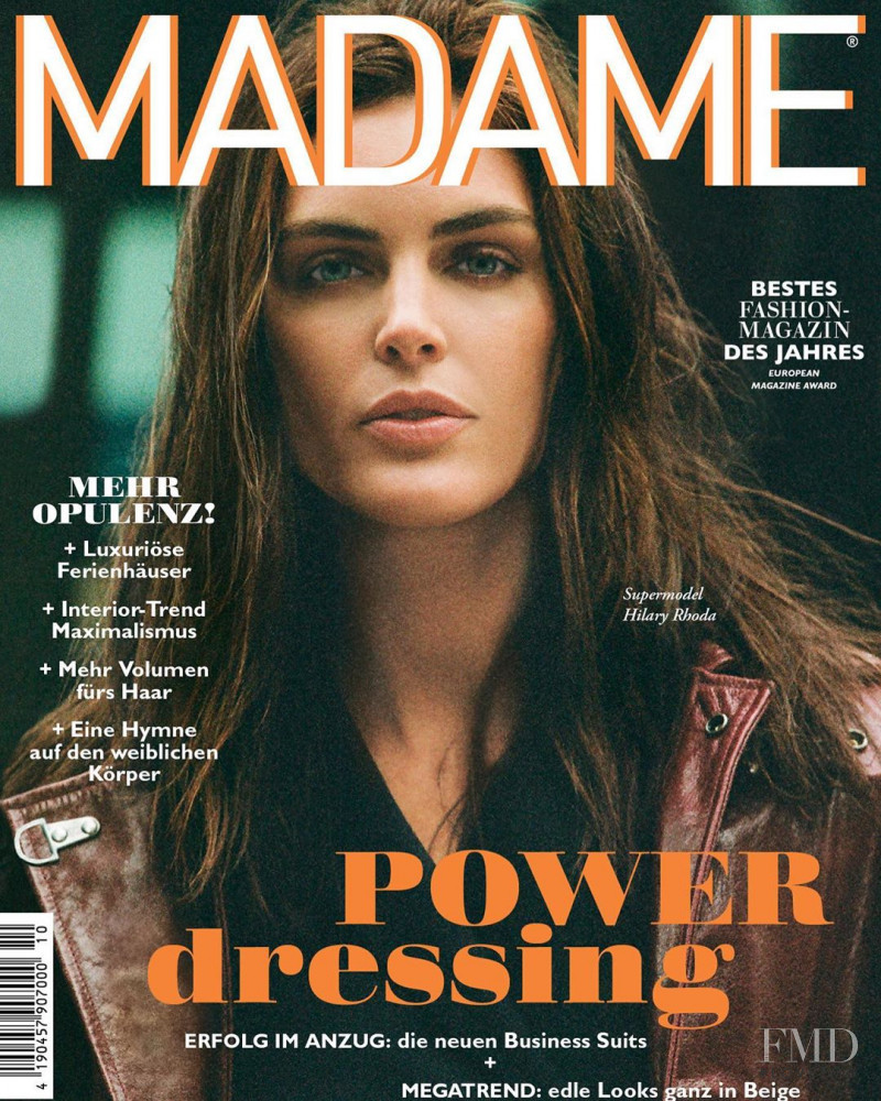 Hilary Rhoda featured on the Madame cover from October 2019