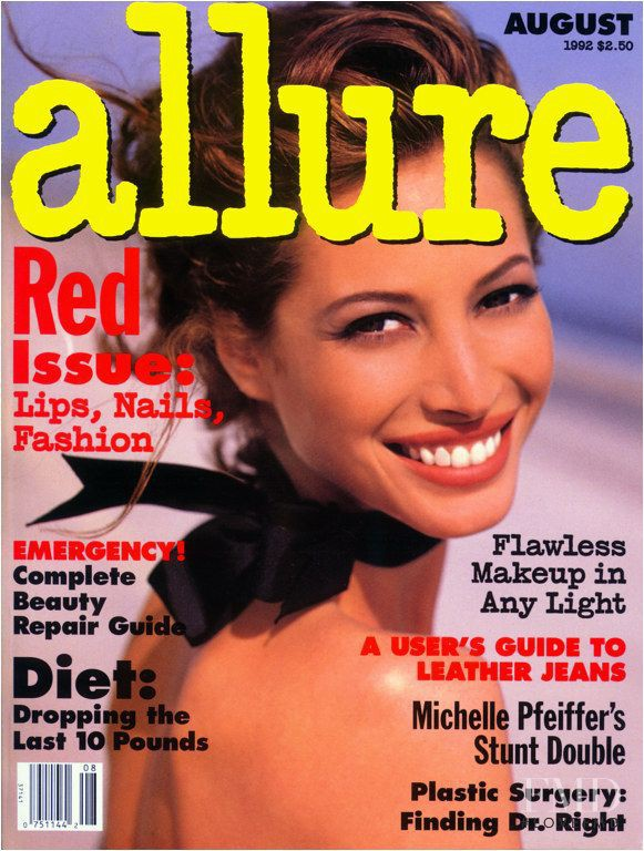 Christy Turlington featured on the Allure cover from August 1992