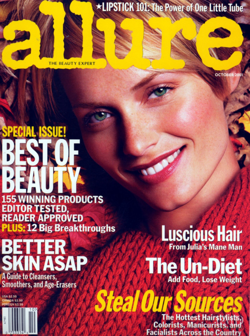 Amber Valletta featured on the Allure cover from October 2001