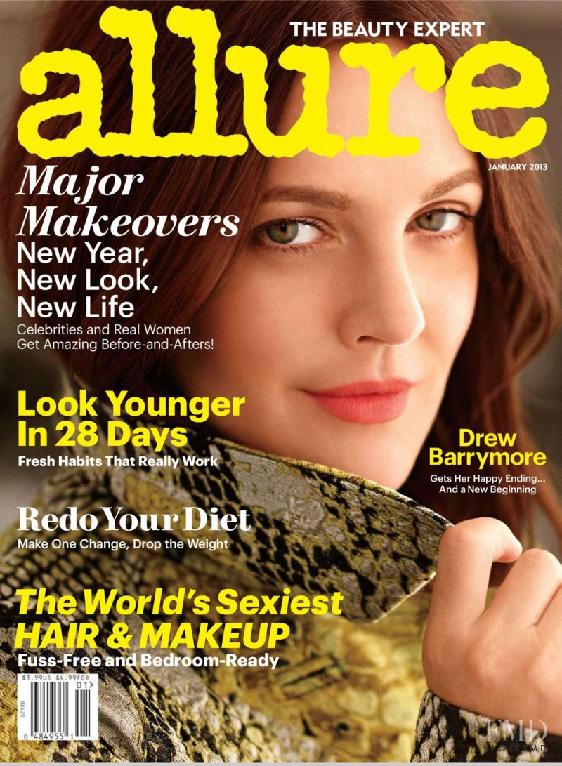 Drew Barrymore featured on the Allure cover from January 2013