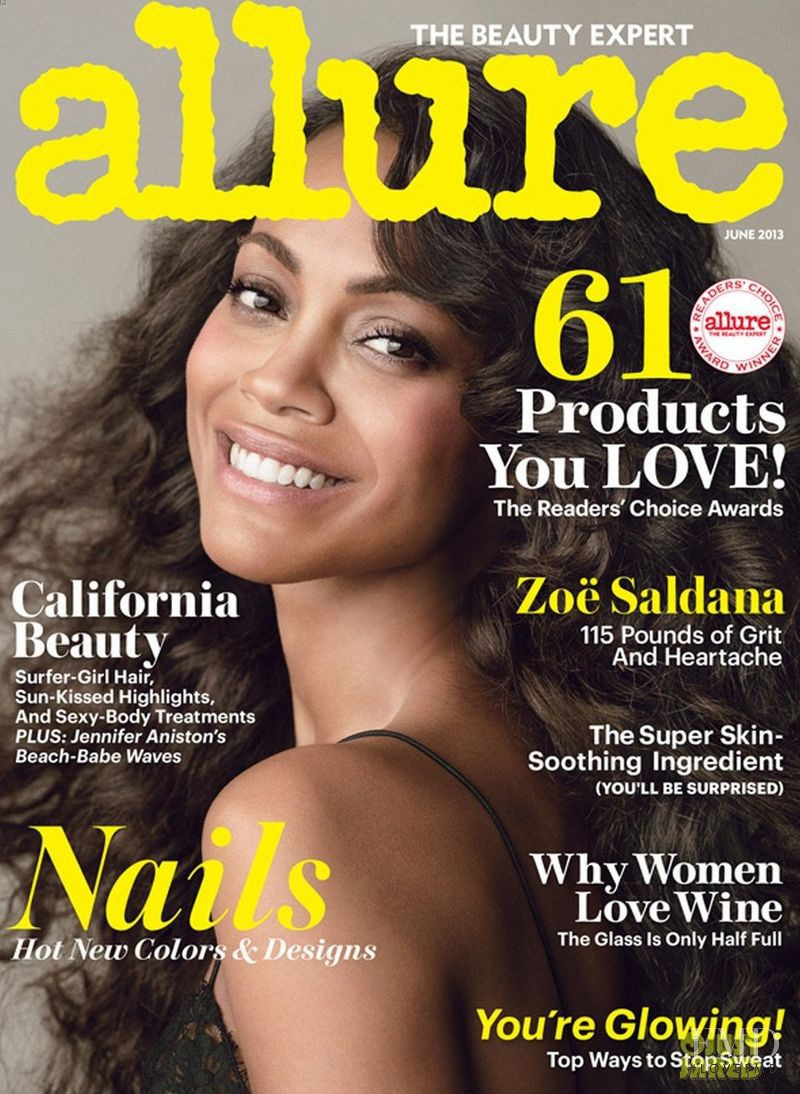 Zoe Saldana featured on the Allure cover from June 2013