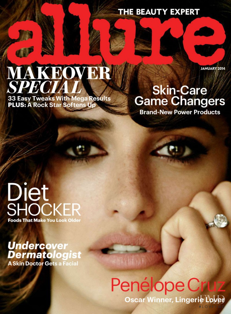 Penelope Cruz featured on the Allure cover from January 2014