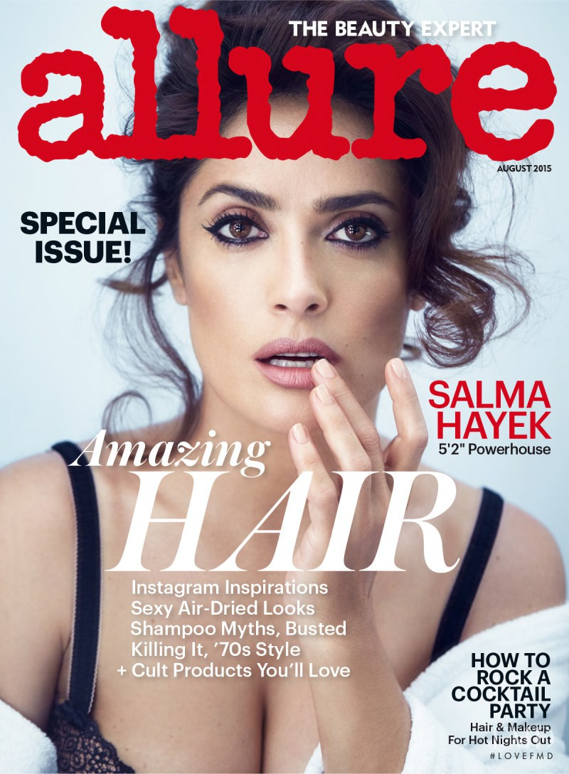 Salma Hayek featured on the Allure cover from August 2015