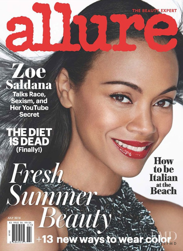Zoe Salanda  featured on the Allure cover from July 2016