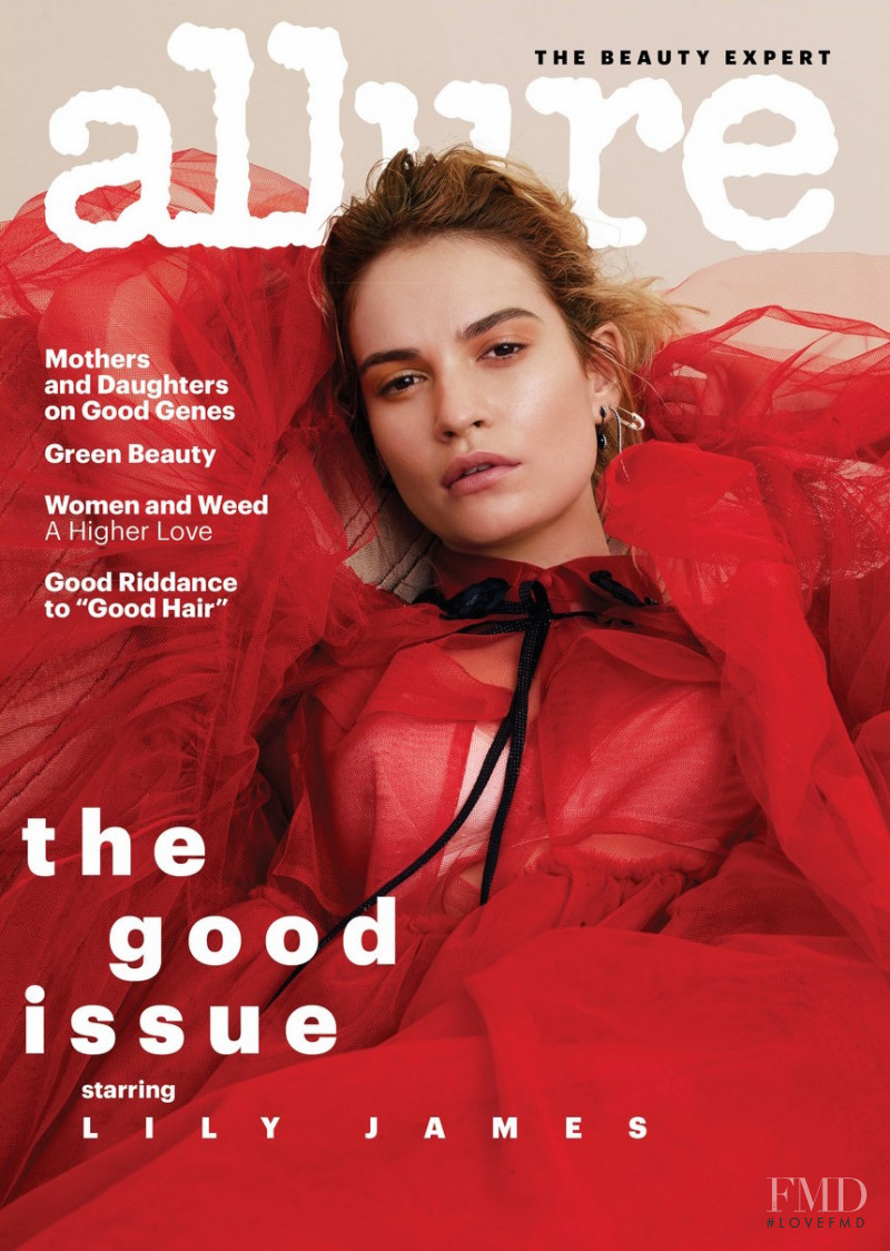 Lily James featured on the Allure cover from August 2018
