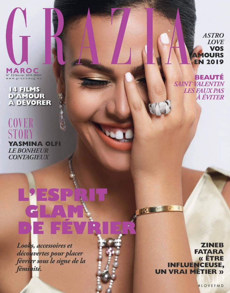 Yasmina Olfi featured on the Grazia Maroc cover from February 2019