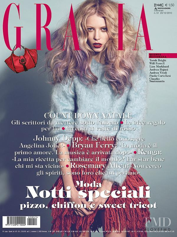 Vika Falileeva featured on the Grazia Italy cover from December 2010