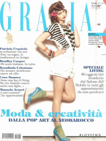 Zuzana Kopuncova featured on the Grazia Italy cover from April 2011