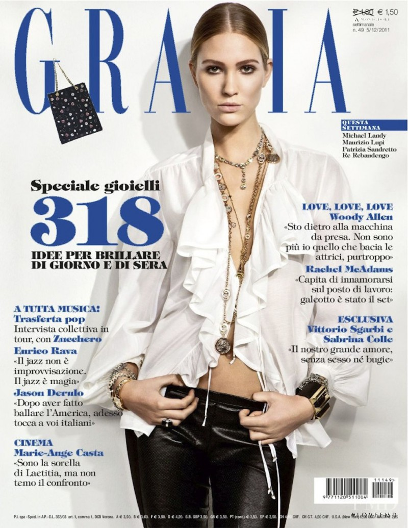 Stine Munch Hansen featured on the Grazia Italy cover from December 2011