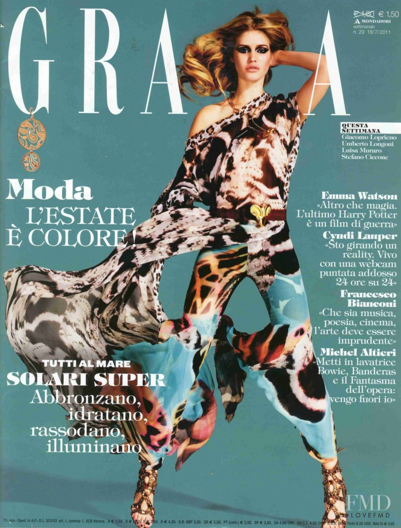 Terese Pagh Teglgaard featured on the Grazia Italy cover from July 2011