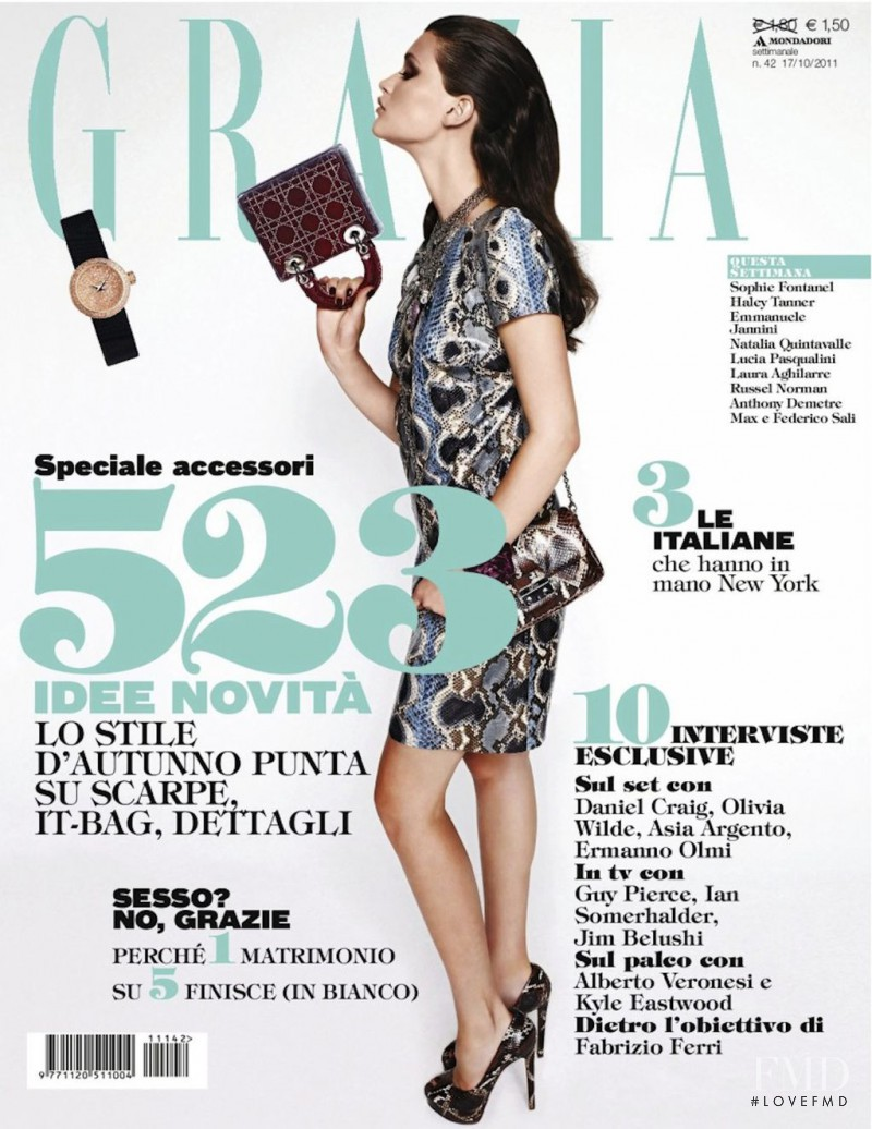 Chloé Lecareux featured on the Grazia Italy cover from October 2011