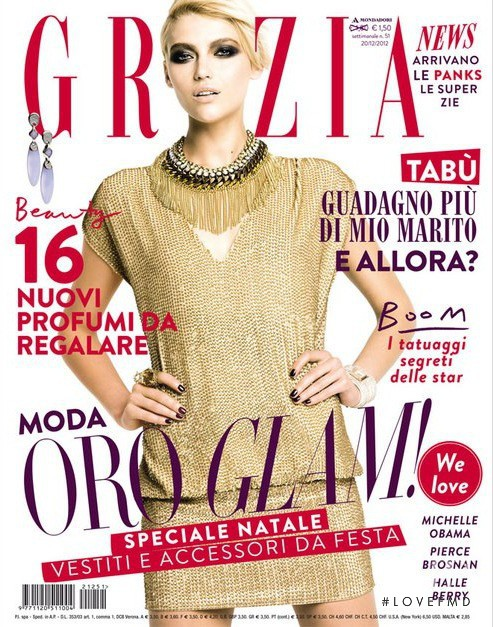 Nastya Belochkina featured on the Grazia Italy cover from December 2012