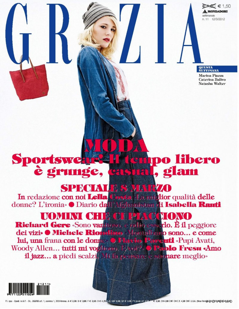 Erika Pattison featured on the Grazia Italy cover from March 2012