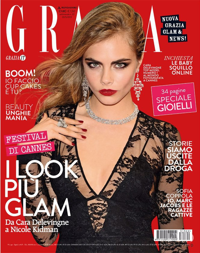 Cara Delevingne featured on the Grazia Italy cover from August 2013