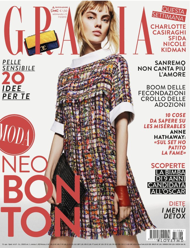 Luize Salmgrieze featured on the Grazia Italy cover from February 2013