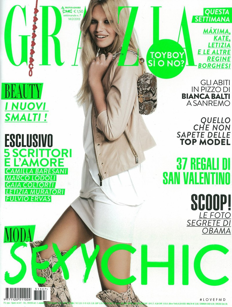 Nadine Leopold featured on the Grazia Italy cover from February 2013