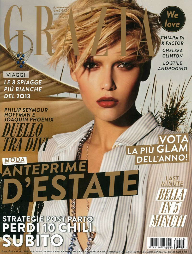 Nastya Belochkina featured on the Grazia Italy cover from January 2013