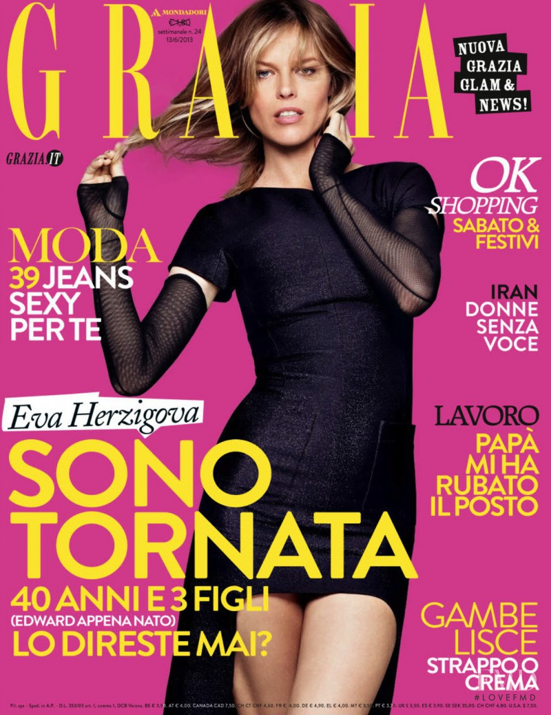 Eva Herzigova featured on the Grazia Italy cover from June 2013