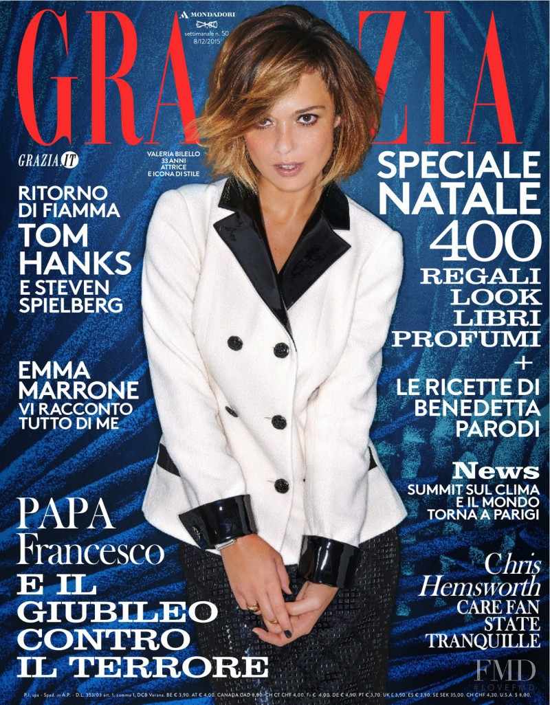 Valeria Bilello featured on the Grazia Italy cover from December 2015