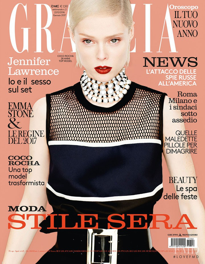 Coco Rocha featured on the Grazia Italy cover from December 2016