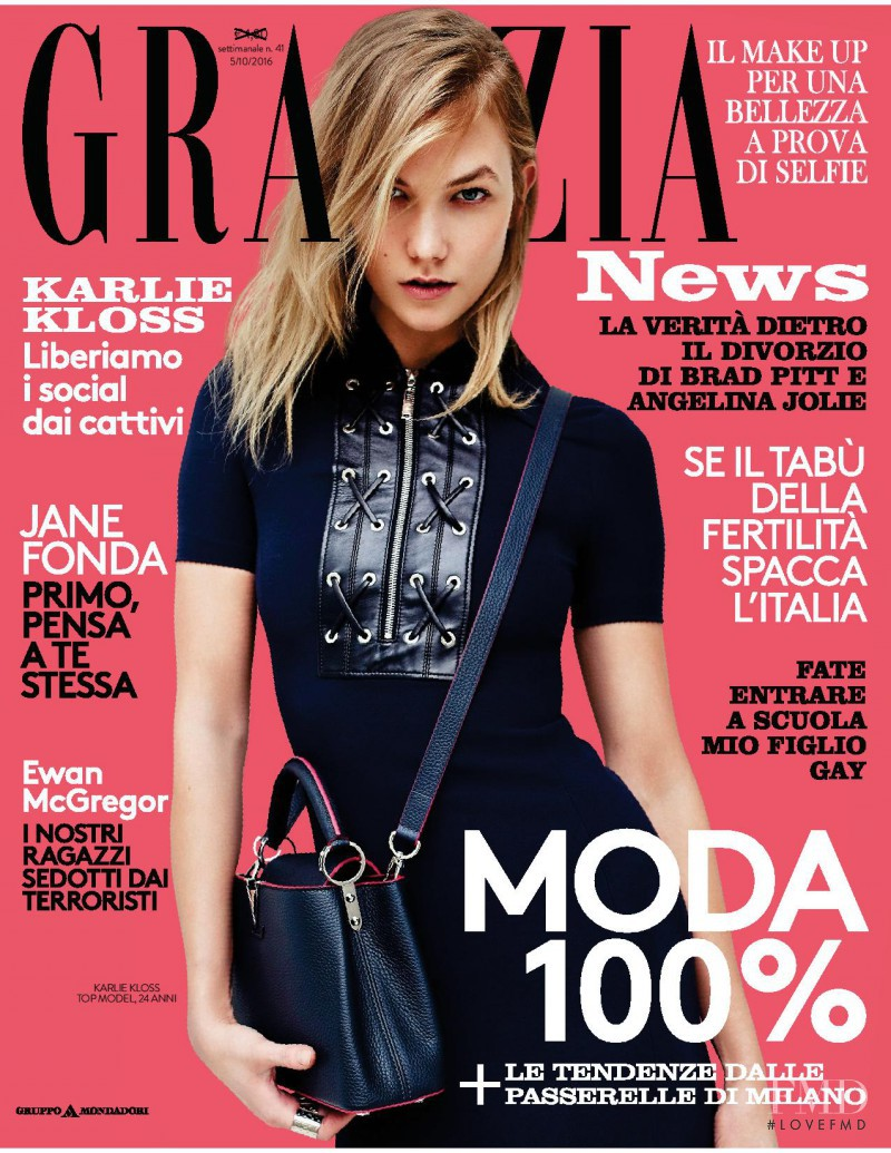 Karlie Kloss featured on the Grazia Italy cover from October 2016