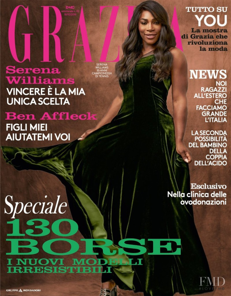 Serena Williams featured on the Grazia Italy cover from October 2016