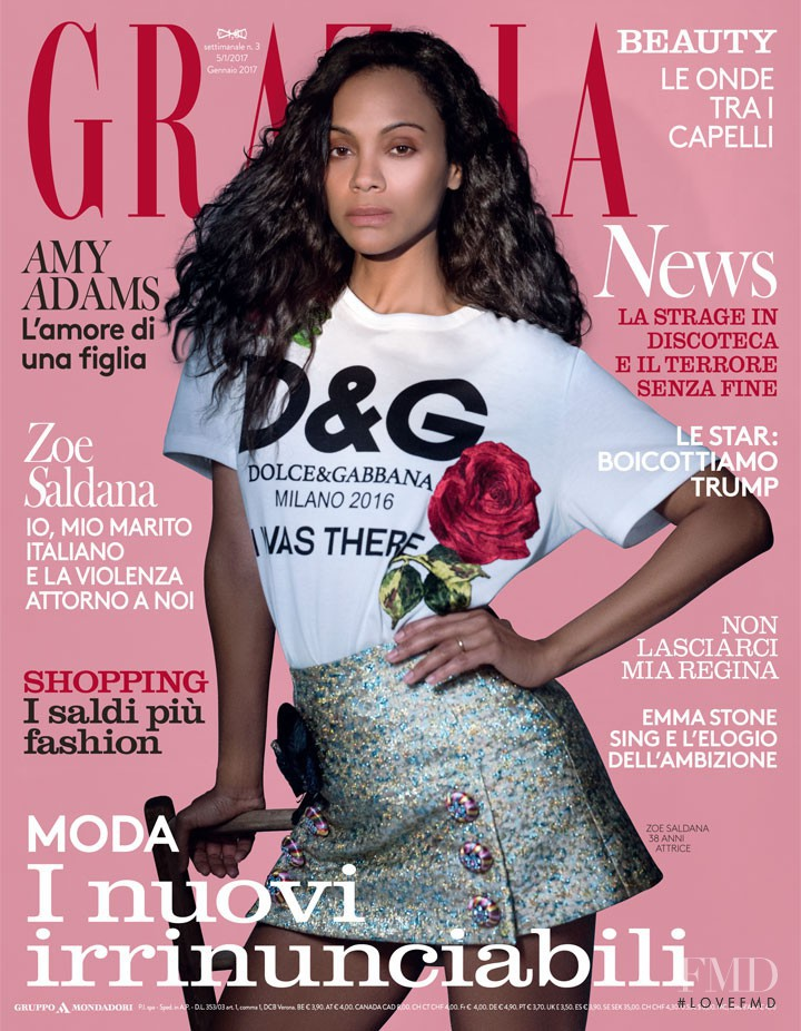 Zoe Saldana featured on the Grazia Italy cover from January 2017