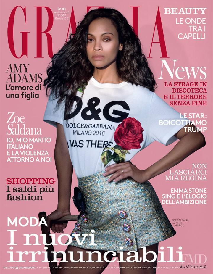 Zoe Saldana featured on the Grazia Italy cover from January 2017