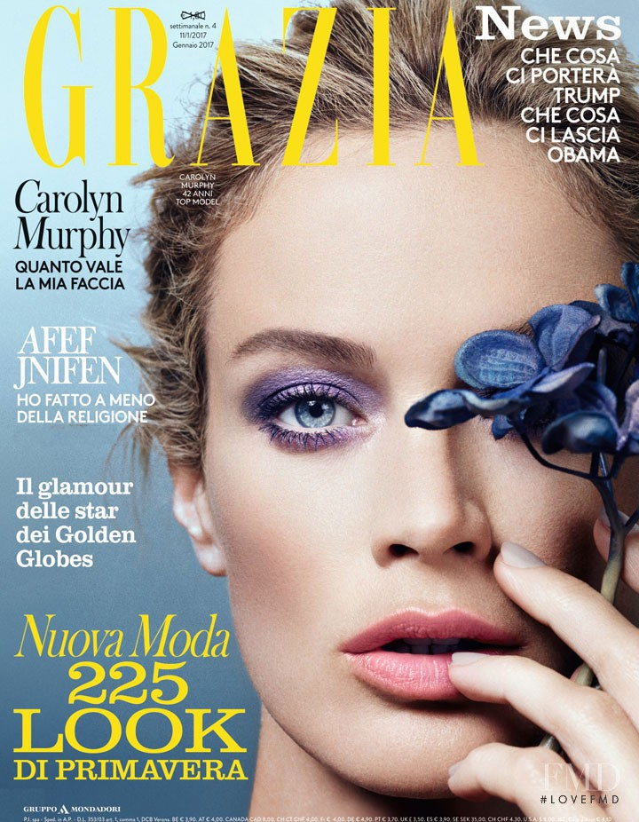 Carolyn Murphy featured on the Grazia Italy cover from January 2017