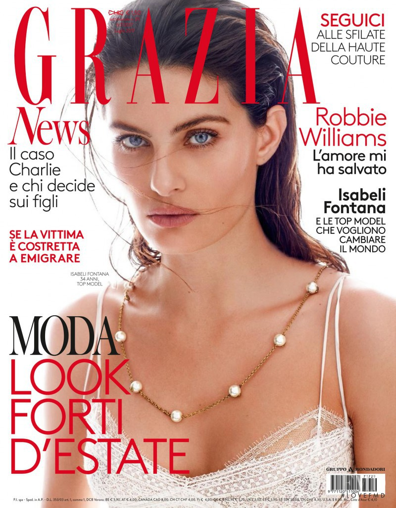 Isabeli Fontana featured on the Grazia Italy cover from July 2017