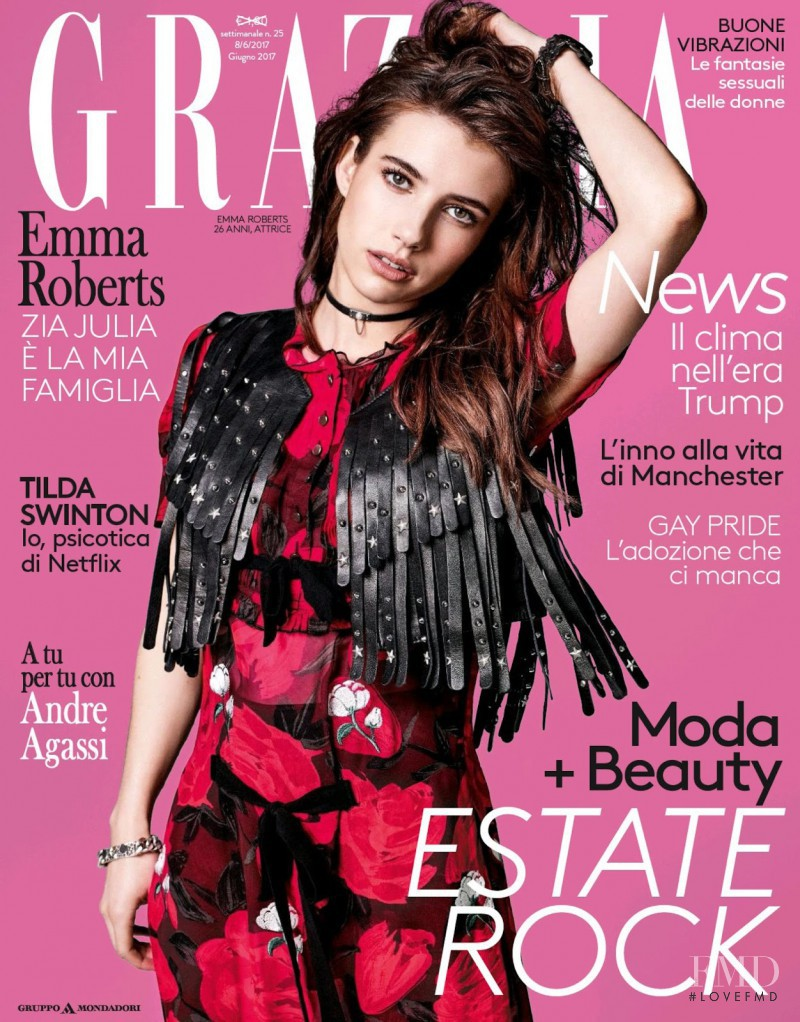 Emma Roberts featured on the Grazia Italy cover from June 2017